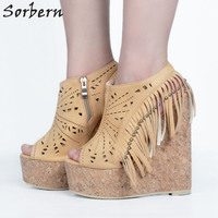 Sorbern Beige Tassel Rivets Wedge Shoes High Heels Sandals Women Sandalia Alta Vintage Rivets Open Toe