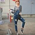 2015 Novo Mais o tamanho Coreano Das Mulheres Novas Macacão Macacão Jeans Skinny Casuais Calças Meninas Calças de Brim