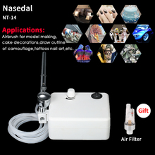 Nasedal NT-14 Mini Dual Action Airbrush Compressor Kit Nail Paint Spray Gun 0.3mm Air Brush Make up Body Tattoo Art Paint Tool