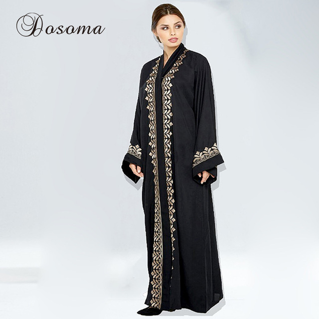 Muslim Maxi Dress Open Abaya Print Cardigan Jilbab Long Robe Gowns ...