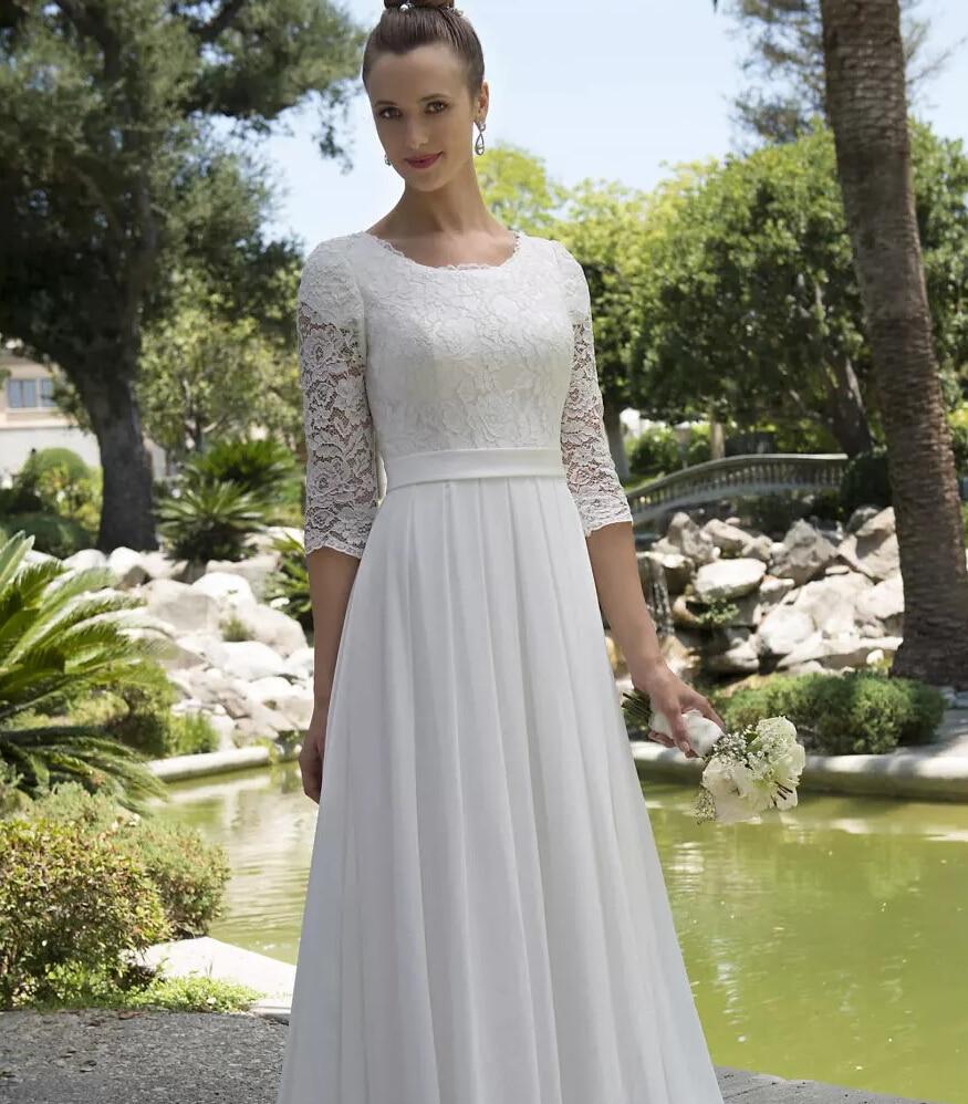 Wedding Outfits For Older Women: Anrede Spitze Chiffon Modest Brautkleider Mit 34 Ärmeln