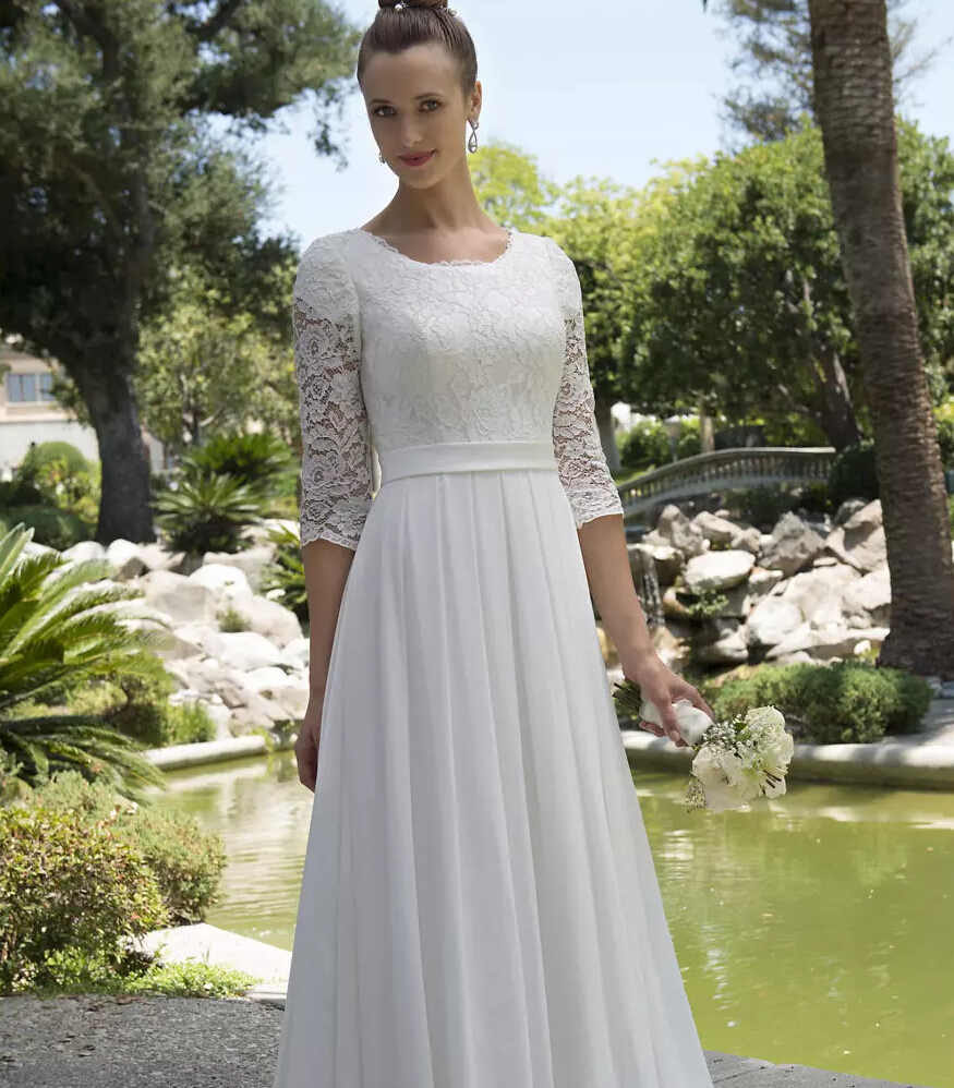 Perfect Informal Lace Chiffon Modest Beach Wedding Dresses With Sleeves  Scoop Neck Reception Bridal Gowns Mature Bride Elegant New With Wedding  Dresses ...