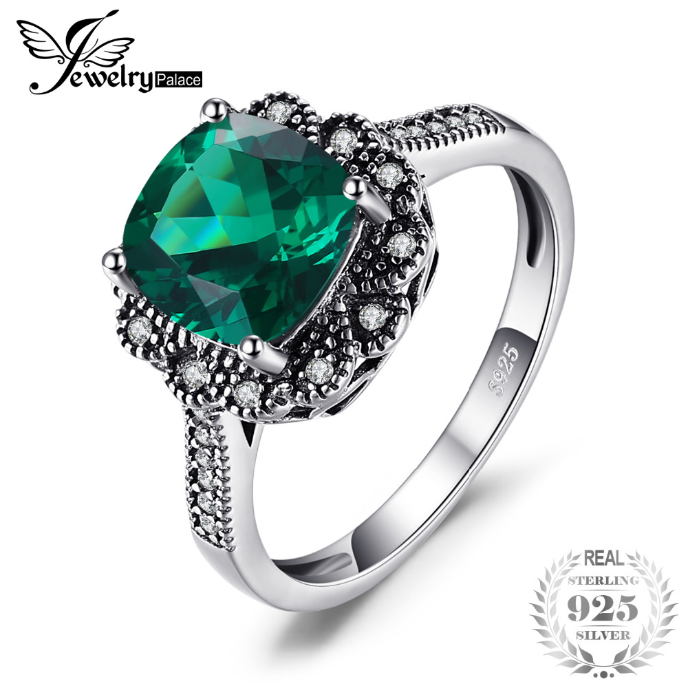 JewelryPalace Vintage 2.2ct Square Created Emerald Promise Anniversary Ring 925 Sterling-Silver-Jewelry For Women