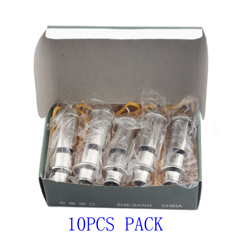10pcs Police Whistles Silver Metal Whistle With Neck Chain Rope Soccer Referee Set Outdoor Hiking Survival Security Equipment