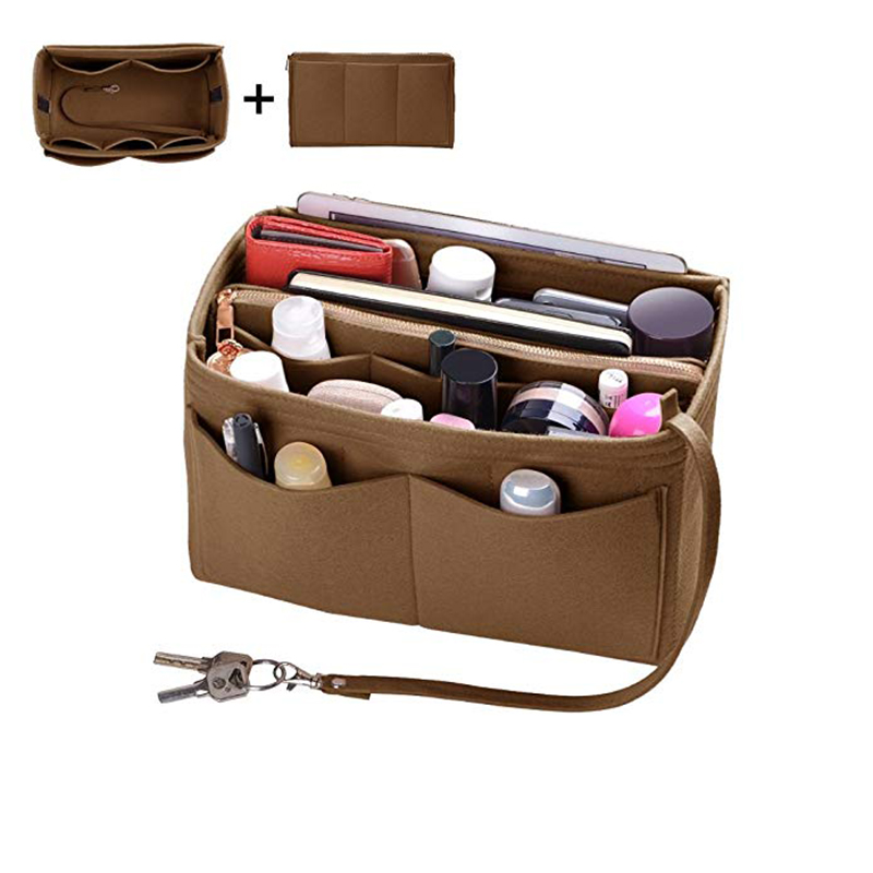 Home Storage Bag Purse Organizer Felt Insert Bag Makeup Organizer Inner Purse Portable Cosmetic Bags Storage Tote L image