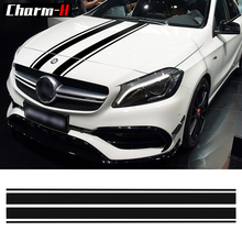 Edition 1 Style Bonnet Stripe Graphics Hood Decal Black Stripes Styling sticker for Mercedes Benz A Class W176 A45 AMG
