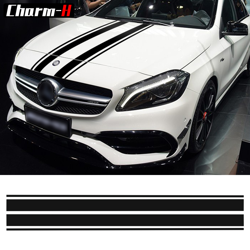 Edition 1 Style Bonnet Stripes Hood Decal Engine Cover Stickers for <font><b>Mercedes</b></font> Benz A <font><b>GLA</b></font> GLC CLA <font><b>45</b></font> <font><b>AMG</b></font> W176 C117 W204 W205 C63 image