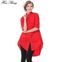 Blouses Fashion 2017 Women Summer Stand Collar Long Sleeve Red Long Shirts A Line Loose Irregular