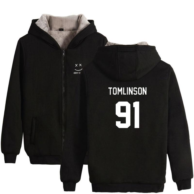 England Singer Louis Tomlinson 91 Print Fashion Thicker Hoodie Sweatshirt Zipper Hoodies Sweatshirt Winter Clothes