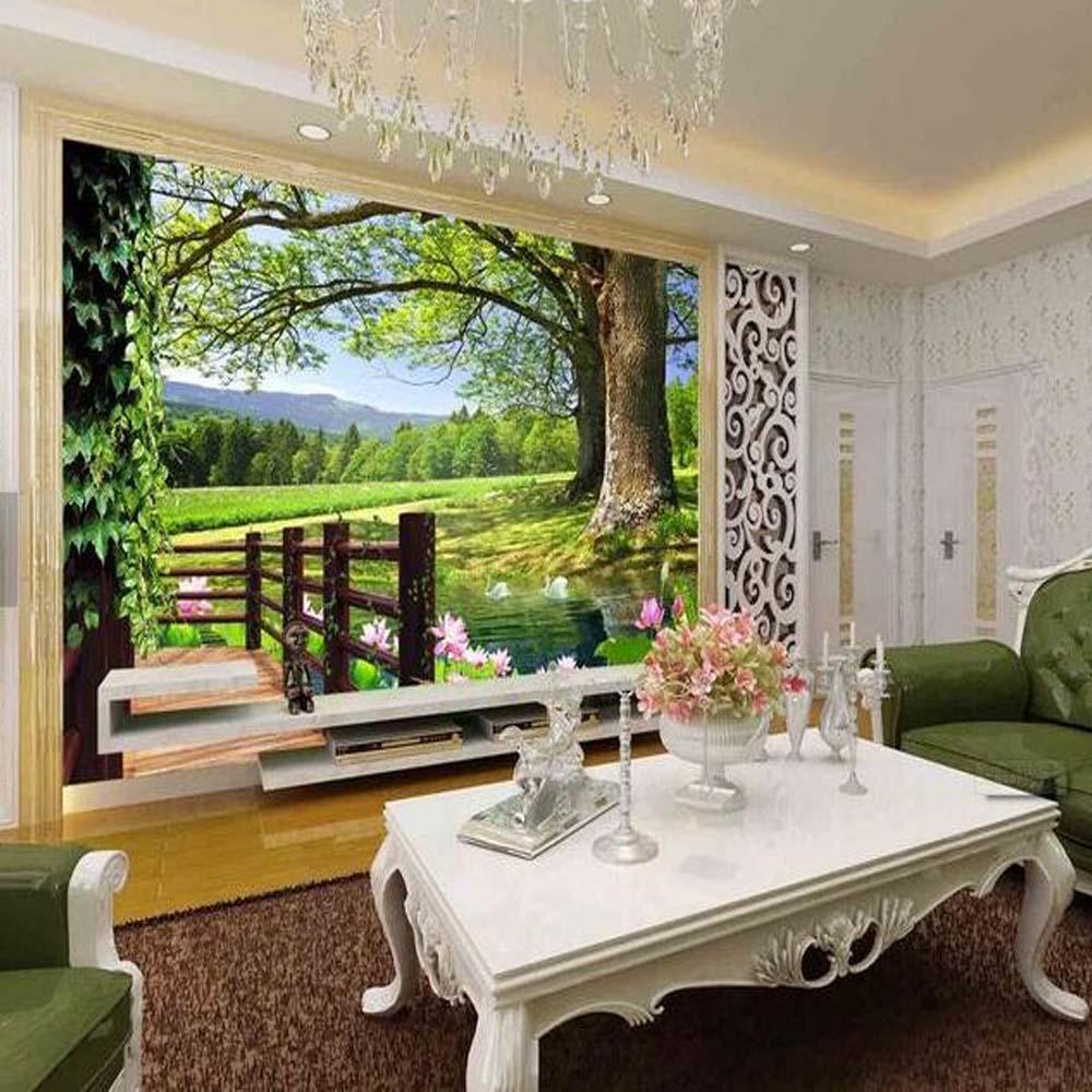 3d modern hijau pohon bunga foto mural wallpaper untuk living room restaurant latar belakang tv kertas dinding mural lanskap di wallpaper dari perbaikan