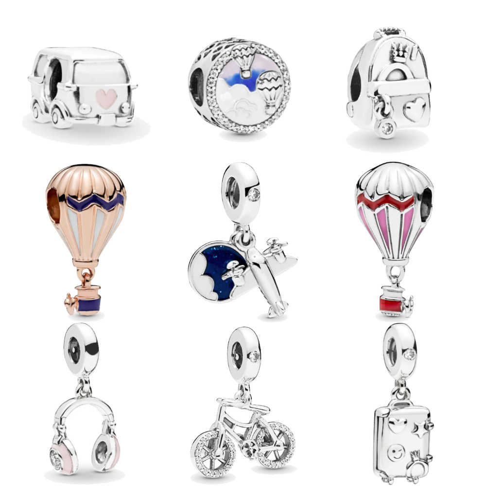 Homod Hot Air Balloon Headphones Plane Camping Car Trip Charms fit Original Pandora Bracelets Necklace Women DIY Tourism Jewelry