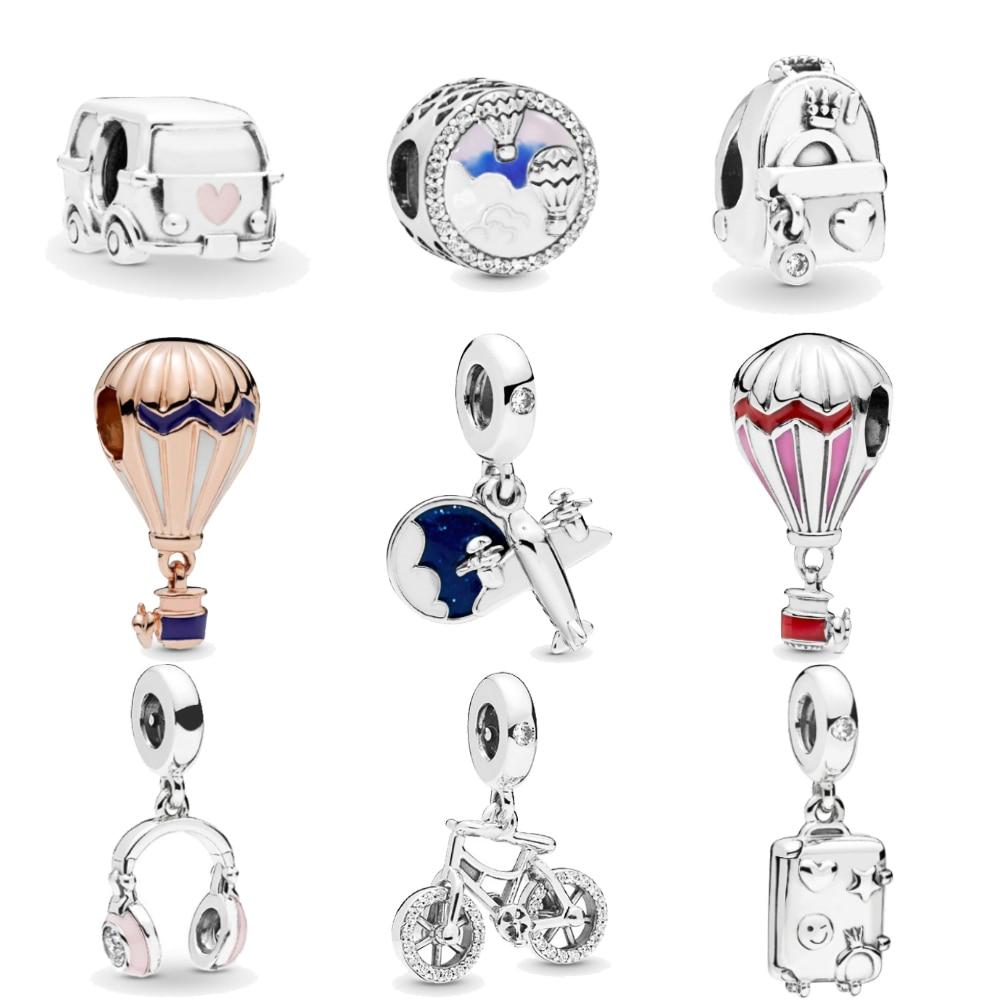 Homod Hot Air Balloon Headphones Plane Camping Car Trip Charms fit Original Pandora Bracelets Necklace Women DIY Tourism Jewelry