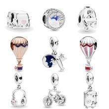 New Hot Air Balloon Headphones Plane Camping Car Trip Charms fit Original Pandora Bracelets Necklace Women DIY Tourism Jewelry