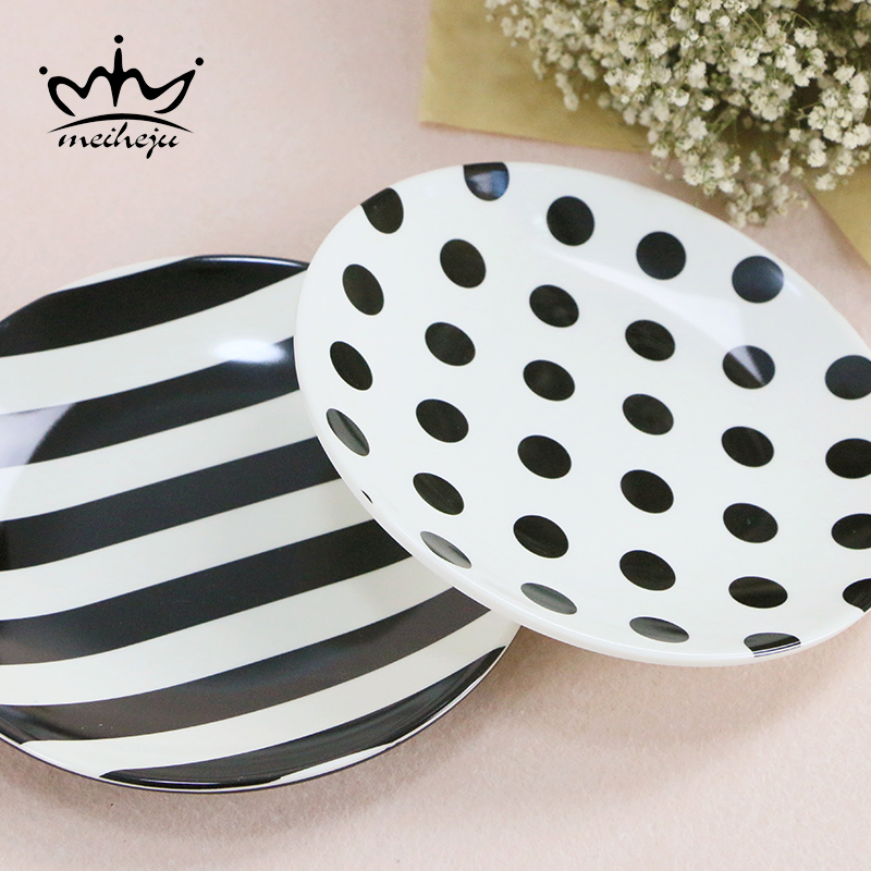 Plastic Melamine Plates Personality Tableware Plastic Round Plates Dots Strip Modern Brief Dinnerware Dinner Dishes Plate-in Dishes u0026 Plates from Home ... & Plastic Melamine Plates Personality Tableware Plastic Round Plates ...
