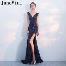 JaneVini 2019 Navy Blue Mother of the Bride Dress Party Bling Sequins  V-Neck High Split Mermaid Evening Ladies Dinner Gowns Red 7112d278c91b