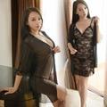 Мини Набор Ночной Рубашке Высокого класса Дамы Сексуальное Бобе Женщины Банный Халат 2 Шт. Ночная Рубашка халат-набор Черный Атласный шелк Пижамы