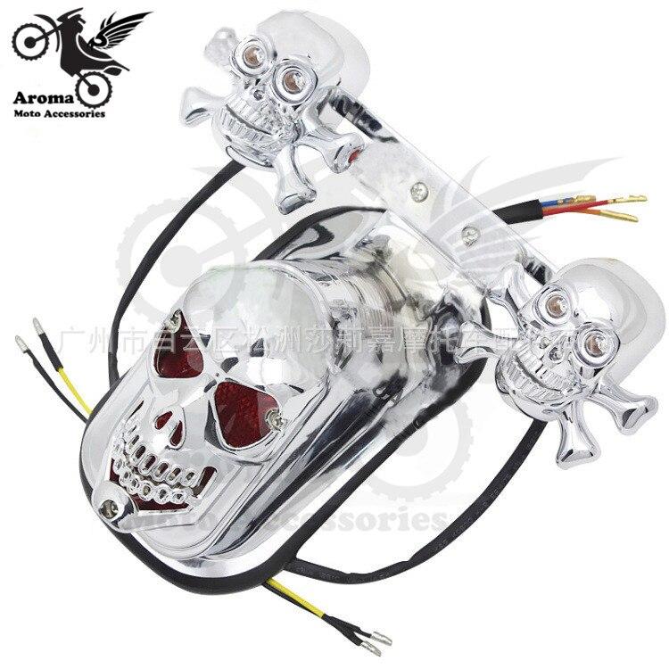 1 set of tail light flasher rear motorcycle turn signal light skull skeleton head motorbike warning signal light moto indicator