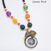 Janewu Wind Color Beads Crystal Elephant Pendant Necklace Women Black Beads Long Chain Mascot Necklace Female