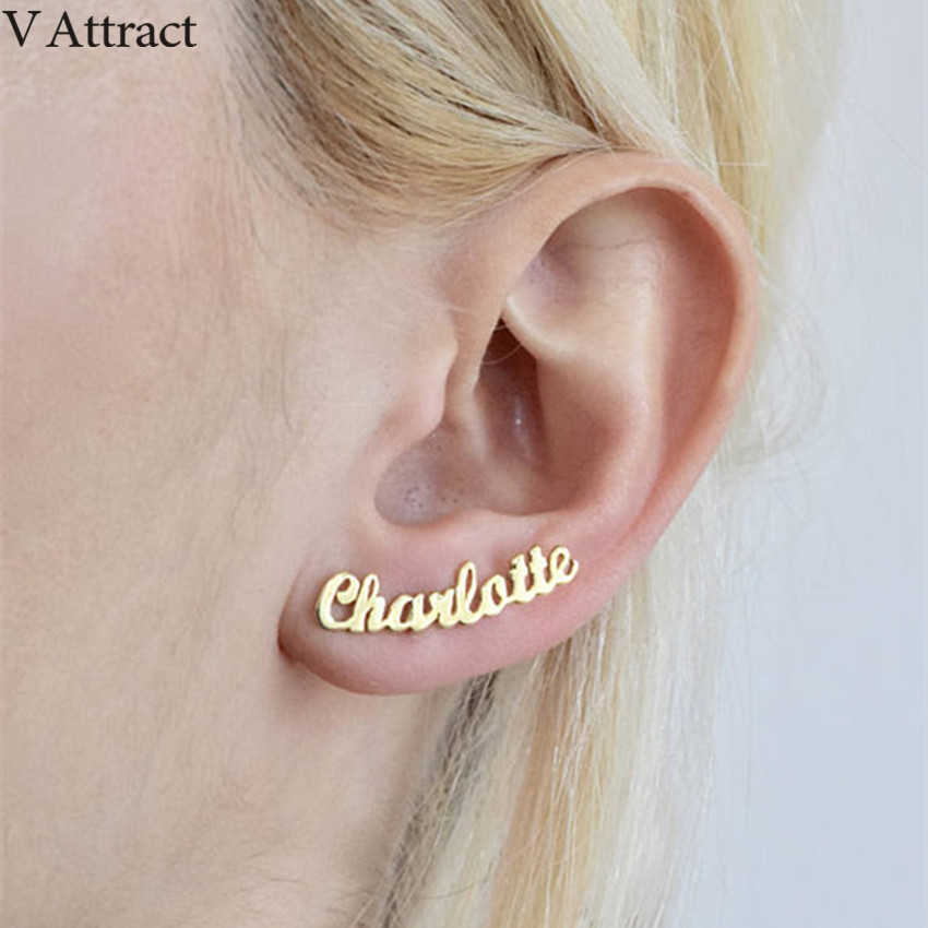 V Attract Stainless Steel Personalized Name Stud Earrings For Women Handmade Custom Jewelry Bridesmaid Gift Rose Gold Oorbellen