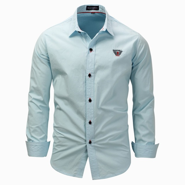 7a637fa110e 2018 New Fashion Men s Shirt Long Sleeve Solid Color Embroidery Shirts Men  Slim Fit Casual Shirt
