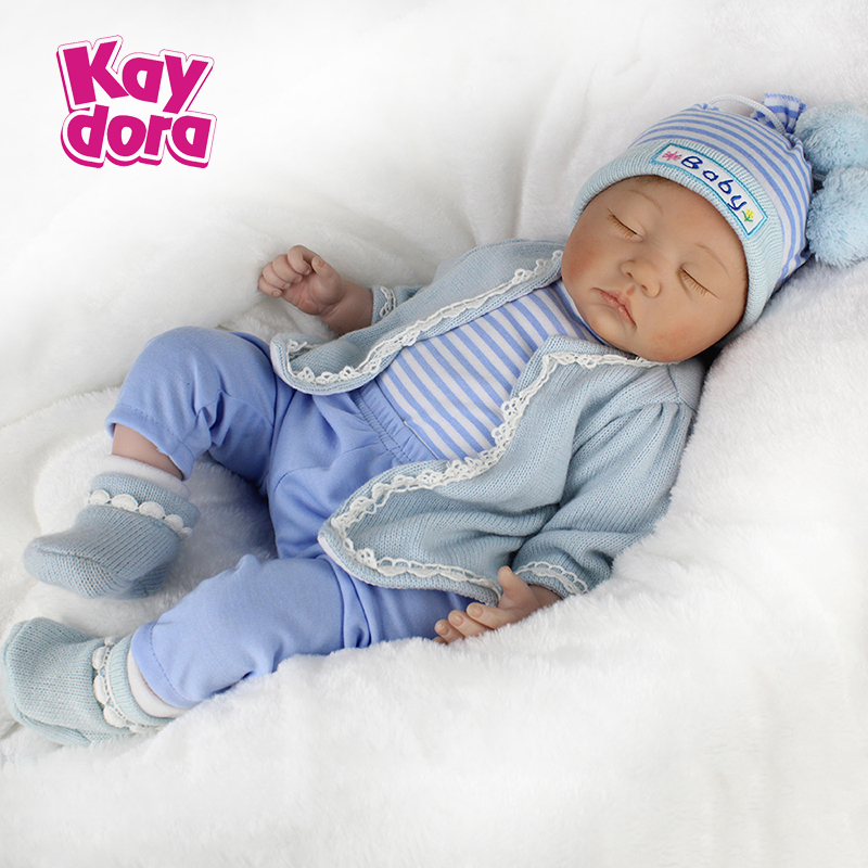 Safety Silicone Baby Doll Reborn Boy Toy 22Inch 55cm Sleeping Beauty Real Lifelike Vinyl Dolls For