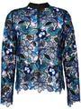 AS019 doce sexy flor do laço recorte o pescoço da longo-luva básica sp azul blusa