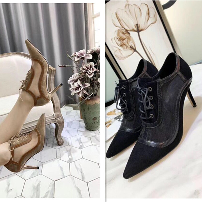 New arrival 2019 spring and summer pointed toe women shoes high heel genuine leather and mesh