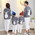 Familia juego mirada invierno otoño mamá dulce dulce suéter de pelo de conejo paquete de la familia del niño hijo de madre e hija vestidos ropa