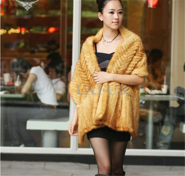 Elegant Real Knitted Mink Fur Shawl Scarf Womens Casual Poncho Knitted Mink Fur Cape Pashmina LX00062