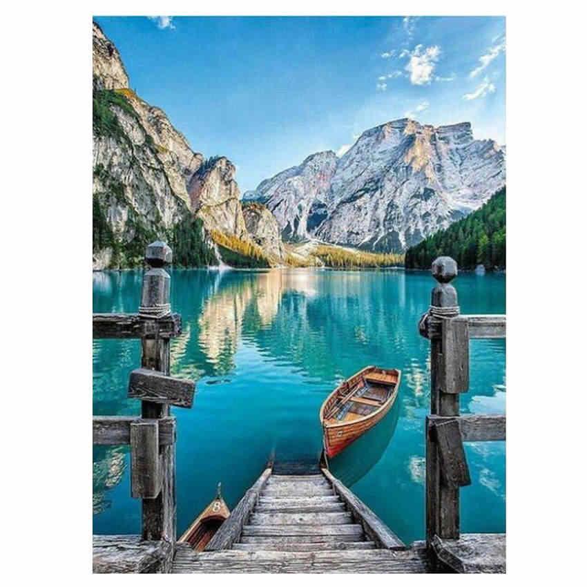 Ween Danau Perahu Lukisan dengan Angka Modern Pemandangan Dinding Digital Diy Seni Gambar untuk Dekorasi Rumah Kota Bridge Lukisan Cat Minyak 40X50 Cm
