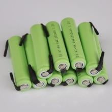 10 pcs célula Ni-Mh 1.2 v AAA bateria recarregável 1000 mah com abas de solda para Philips Braun barbeador elétrico de barbear escova de dentes