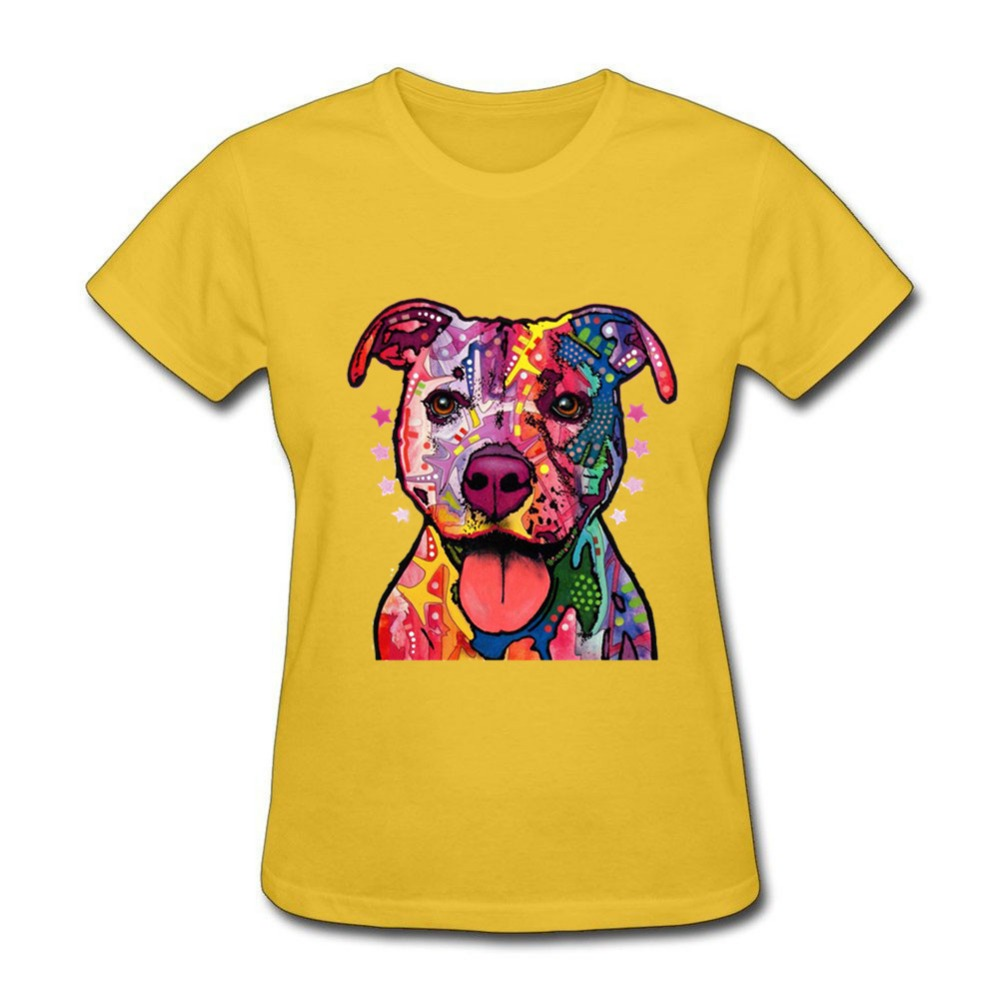 Neon Pitbull Colorful Abstract Dog Face Funny T Shirts Lady 100 ...