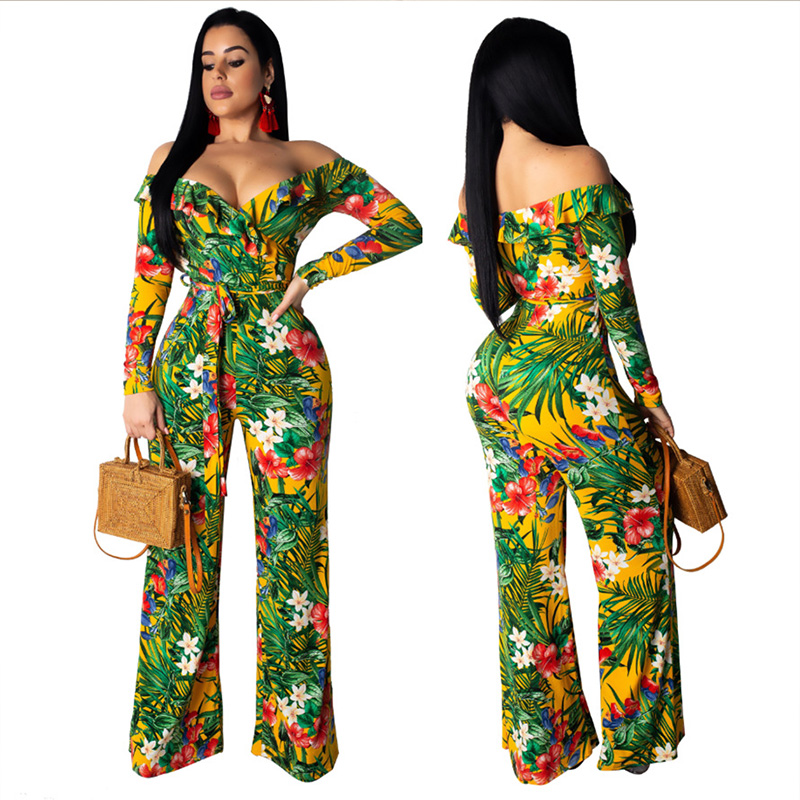 2019 New Off Shoulder Skinny Women Jumpsuit Romper Skinny Print Sexy Jumpsuit Two-piece Suit Summer Jumpsuit Overalls