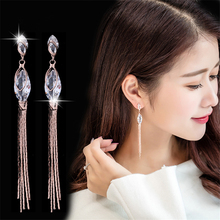 MZC New Fashion Long Zircon Drop Big Earrings for Women Tassel Earrings Pendientes Dangle aretes Brincos Jewelry korean earings