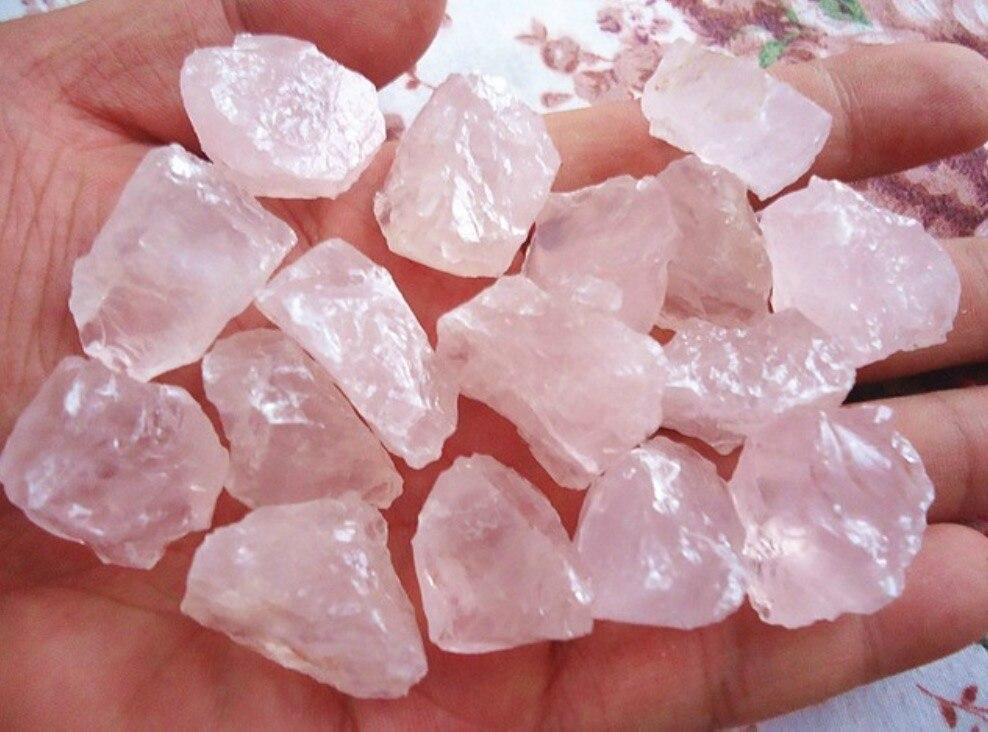 Piedra de Energía Mineral natural de cuarzo rosa crstal Piedra del amor cristal Rosa feng shui decoración de piedra al por mayor 100 g/lote