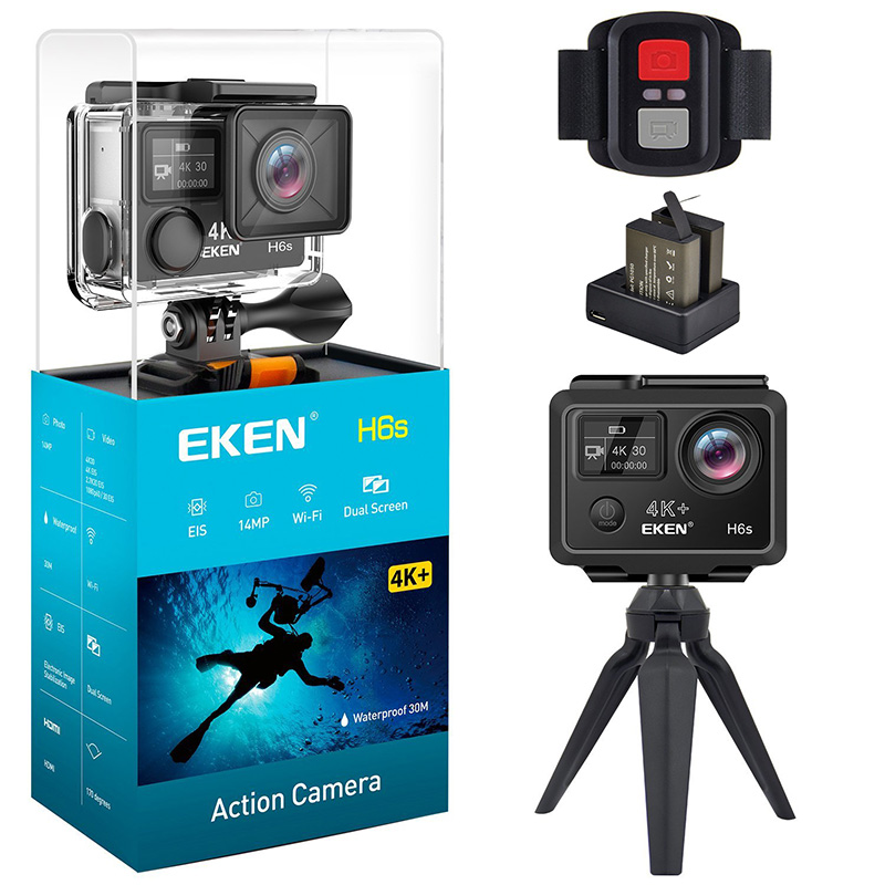Eken H6s Action Camera 4k 30fps 14MP Ultra HD EIS with Ambarella A12 chip inside 30m waterproof Go mini cam pro sport Camera 2017 arrival original eken action camera h9 h9r 4k sport camera with remote hd wifi 1080p 30fps go waterproof pro actoin cam