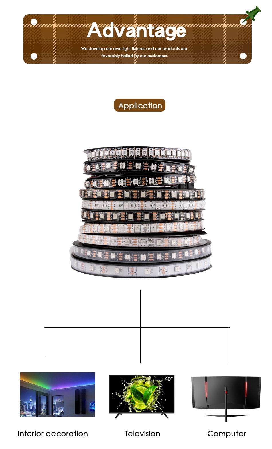 WS2812B LED Strip DC 5V Black White PCB Smart Addressable Pixel WS2812 IC 30/60/144 LEDs 17Key Bar RGB 50CM 1M 2M 3M 4M 5M