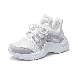 Image 5 - JCHQD 2019 סתיו לגפר נשי אופנה סניקרס תחרה עד רך גבוהה פנאי Footwears רשת לנשימה נשים נעליים יומיומיות