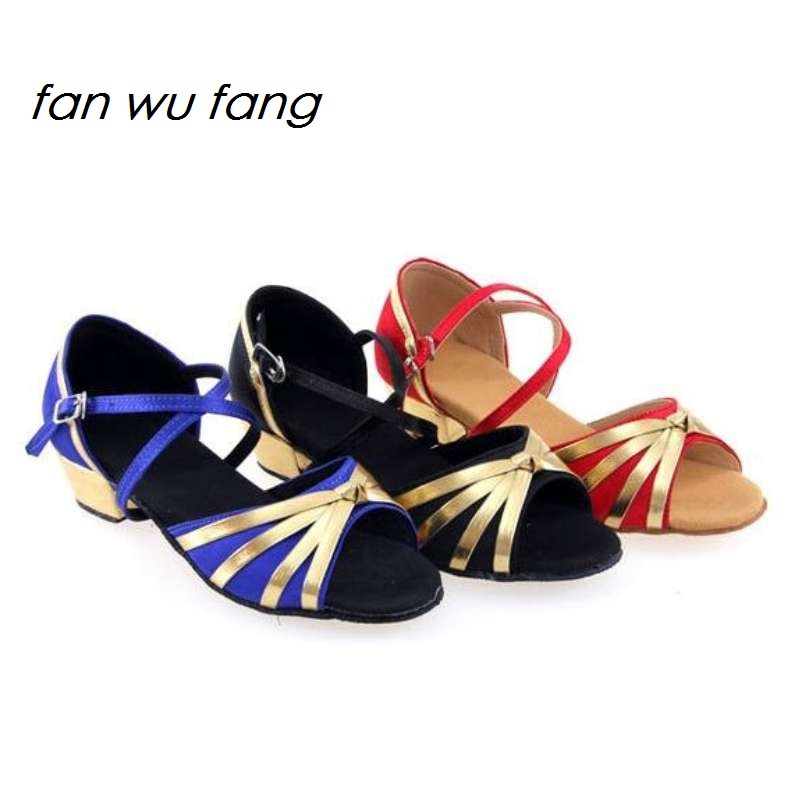 2017 NEW Arrival Satin Upper Dancing Latin Shoes Ballroom Dance Tango Sandals Sneakers Women Girls Ladies Kids Children 209