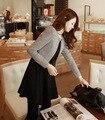 Spring 2017 Korean Women foreign trade was thin waist temperament new fake two-piece long-sleeved dress