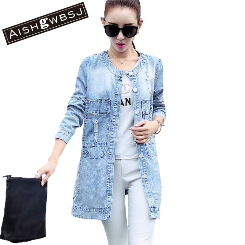 AISHGWBSJ Plus Size New Women s Long Denim Jackets Coats Spring Autumn Outerwear Fashion Single Breasted