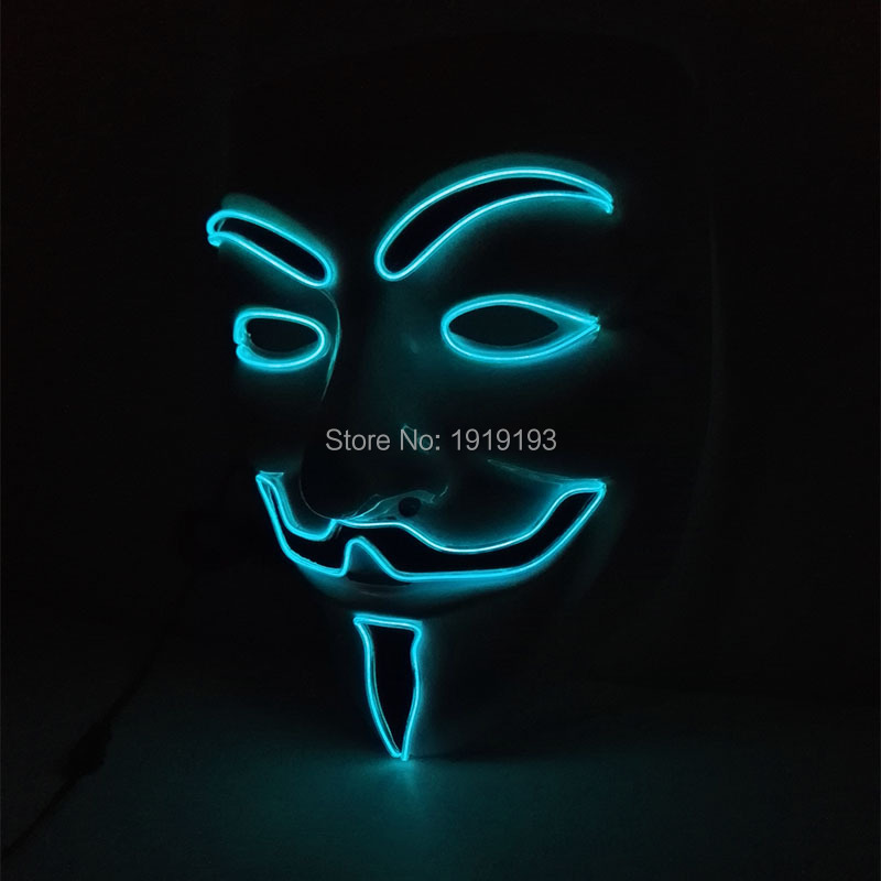 Hot Sales EL wire Fashion V for VENDETTA Halloween Cosplay 10 Color Select MASK Guy Fawkes Anonymous for Party holiday lighting