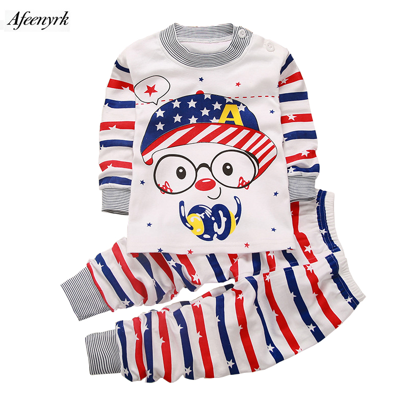 Children Clothing Cotton Underwear Set Boys Girls Clothes Baby Long Johns Sweat Releasing Baby Neck Shoulder Buckle Pajamas