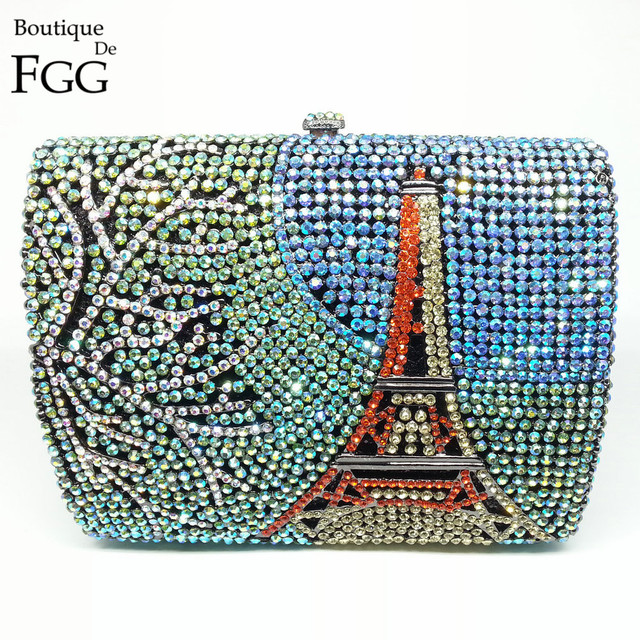 Gift Box Famous Landscape Eiffel Tower Women Crystal Clutch Bag Party Prom Bags Clutches Purses Wedding Bridal Metal Handbag