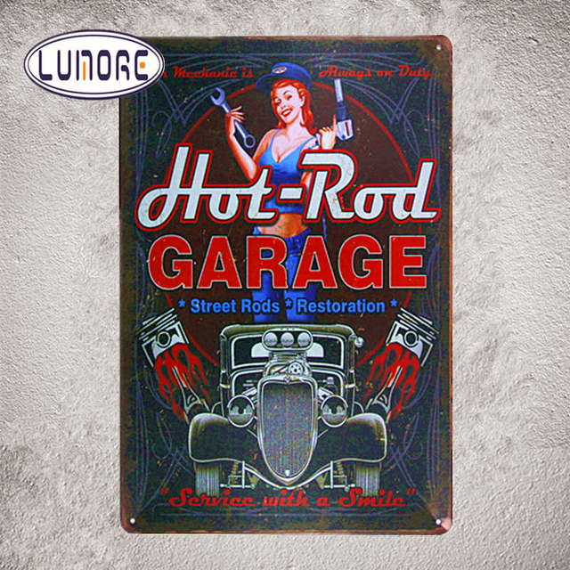 3d5f54ab93cbe Full Service Hot Rod Route 66 Metal Tin sign Pin up girl House Office Restaurant  Bar iron Wall Decoration