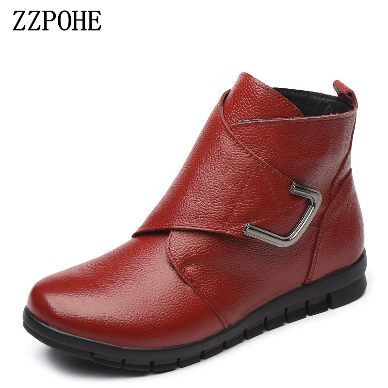 ZZPOHE Women Boots Winter New Fashion Female Warm Snow Boots Woman Genuine Leather Flat Ankle Boots Women Plus Size Shoes winter women snow boots fashion footwear 2017 solid color female ankle boots for women shoes warm comfortable boots