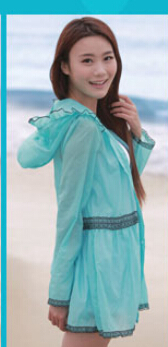 5 шт./лот женские ярких цветов одежда для защиты от солнца ультра-тонкий верхняя одежда ярких цветов повседневные пляжные толстовки - Цвет: lake blue