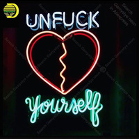 Neon Sign for Unfuck Yourself Heart Broken Glass Tube Handmade neon light Sign Decorate home Iconic Neon Light Lamp Advertise
