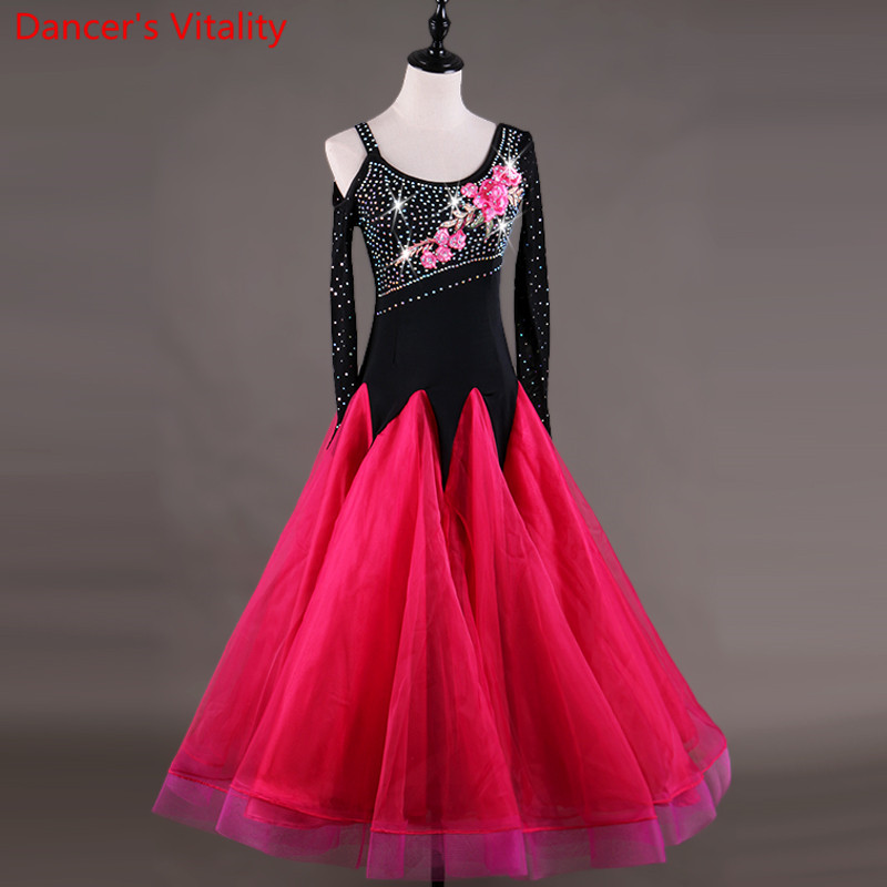 Ballroom Competition Dance Dress Women Tango Flamenco Waltz Dancing Diamond Embroidery Flower Customized Ballroom Dance Dresse