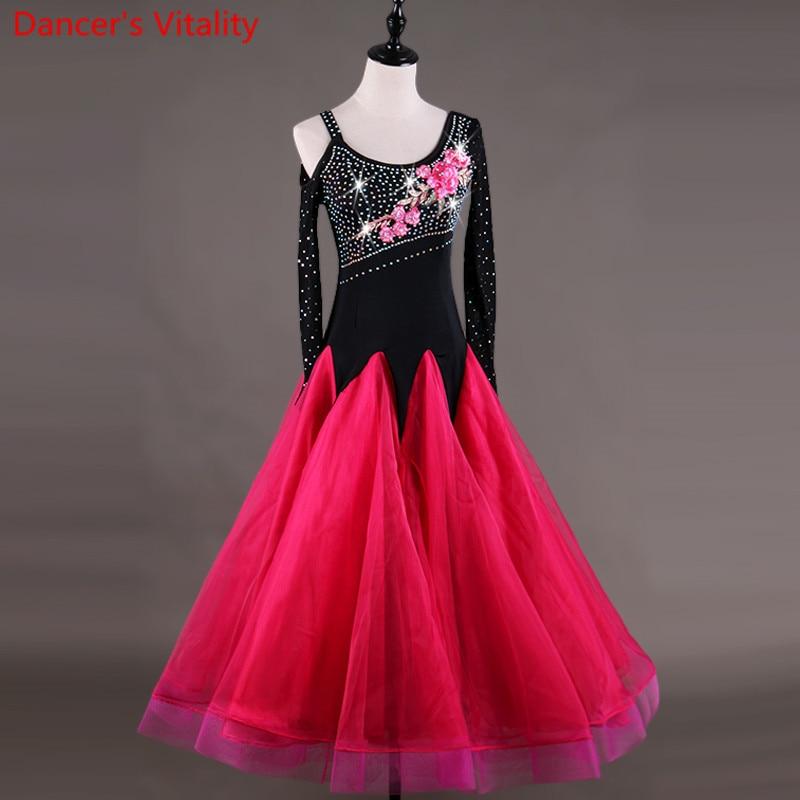 Ballroom Competition Dance Dress Women Tango Flamenco Waltz Dancing Diamond Embroidery flower Customized Ballroom Dance Dresse